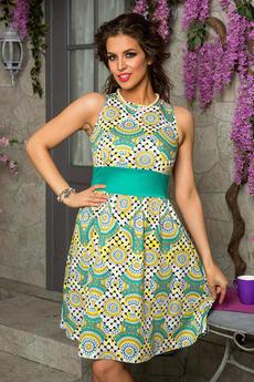 Зеленое платье с принтом Angela Ricci со скидкой
