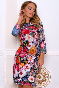Яркое платье с цветами Open-Style