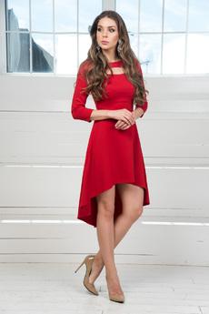 Платье с длинными рукавами и асимметричным подолом Mondigo