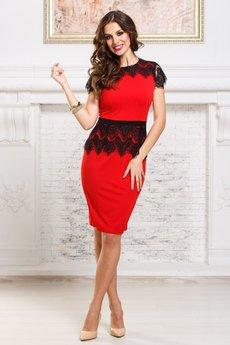 Коктейльное красное платье с кружевной баской и пелериной Angela Ricci