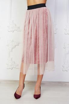 Розовая бархатная юбка Angela Ricci со скидкой